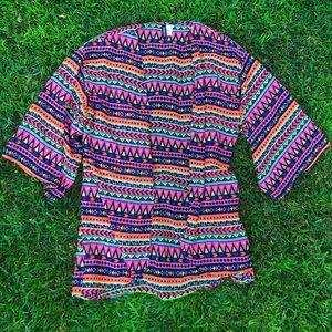 -bright neon geometric patterned mesh kimono